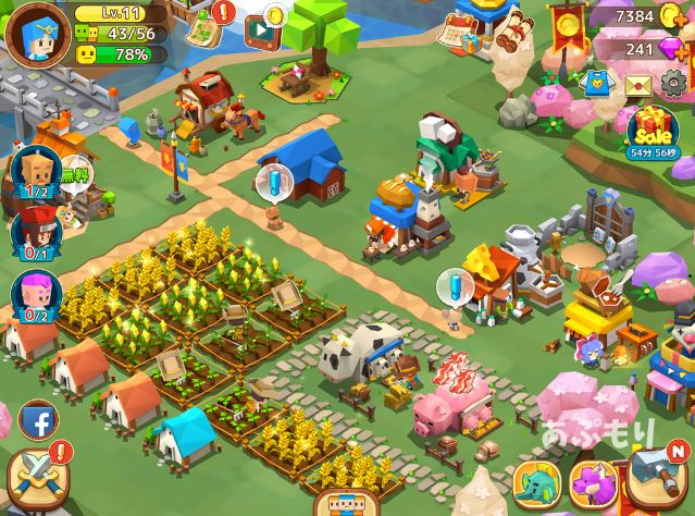 ピコットタウン|レベルが上がると畑や建物がたくさん増やせる