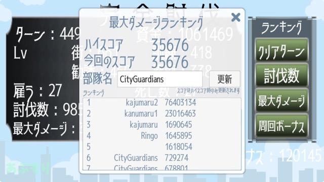 cityguardians 最大ダメージランキング